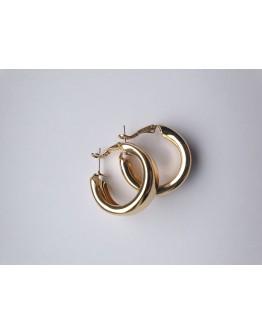 Minimalistiniai aukso spalvos metalo apvalūs dideli auskarai