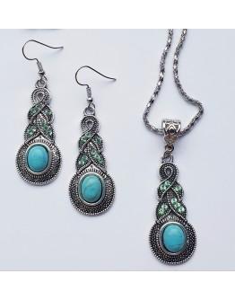 Moteriškas Tibeto sidabro spalvos pakabuko ir auskarų komplektas