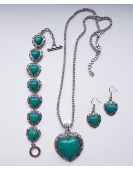Naujo stiliaus mėlynos širdies spalvos akmens papuošalų vintažinis rinkinys